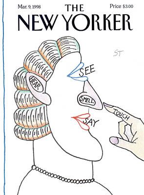 Nervous Painting - New Yorker March 9th, 1998 by Saul Steinberg