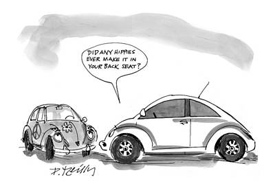 Beetle Drawing - New Yorker May 11th, 1998 by Donald Reilly