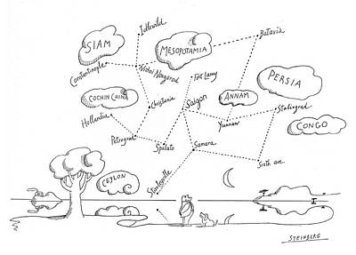 Constellation Drawing - New Yorker May 12th, 1975 by Saul Steinberg
