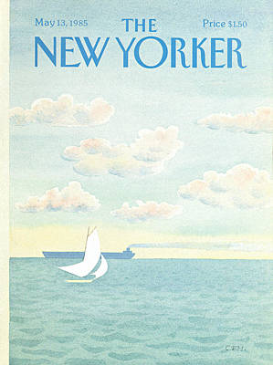 Sailboat Ocean Painting - New Yorker May 13th, 1985 by Charles E. Martin