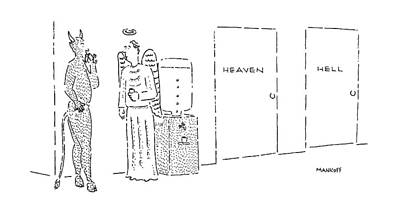 Angels Drawing - New Yorker May 16th, 1988 by Robert Mankoff