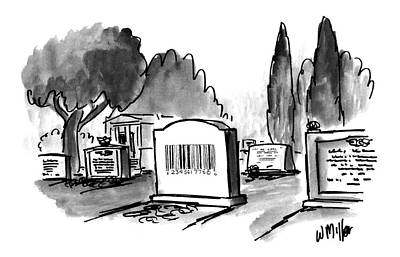 Cemetery Drawing - New Yorker May 17th, 1993 by Warren Mille