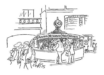 Train Station Drawing - New Yorker May 17th, 1999 by Sidney Harris