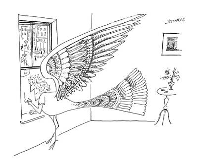 Pheonix Drawing - New Yorker May 18th, 1963 by Saul Steinberg