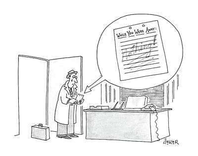 Weep Drawing - New Yorker May 18th, 1987 by Jack Ziegler