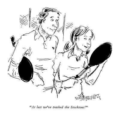 Tennis Drawing - New Yorker May 19th, 1975 by William Hamilton