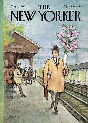 Holding A Flower Painting - New Yorker May 1st, 1965 by Charles Saxon