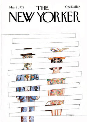 Wife Painting - New Yorker May 1st, 1978 by Saul Steinberg
