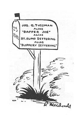 Mail Box Drawing - New Yorker May 20th, 1944 by Roberta Macdonald