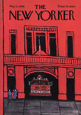 Fire Department Painting - New Yorker May 21st, 1966 by Robert Kraus
