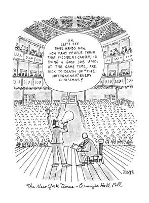 Poll Drawing - New Yorker May 21st, 1979 by Jack Ziegler