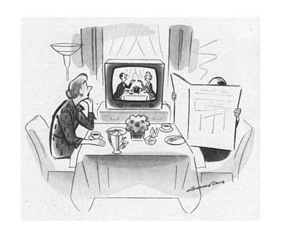 Chatting Drawing - New Yorker May 24th, 1952 by Leonard Dove