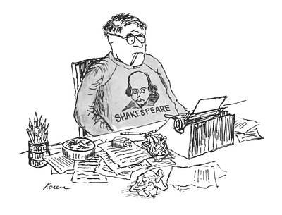 Typewriter Drawing - New Yorker May 26th, 1962 by Edward Koren