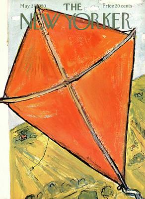 Children Flying Kite Painting - New Yorker May 27th, 1950 by Abe Birnbaum