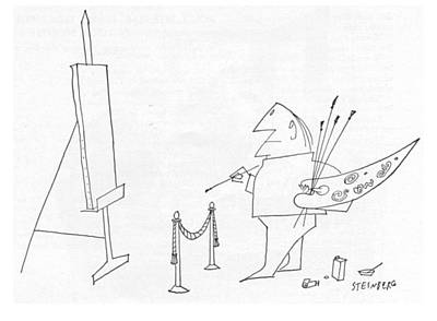 Theater Drawing - New Yorker May 27th, 1961 by Saul Steinberg