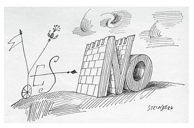 Yes Drawing - New Yorker May 28th, 1960 by Saul Steinberg