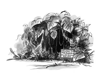 Jungle Drawing - New Yorker May 28th, 1979 by Lee Lorenz