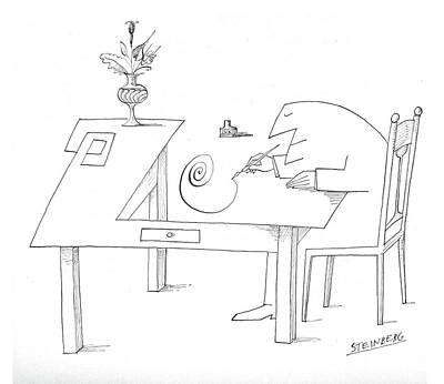 Spiral Drawing - New Yorker May 29th, 1965 by Saul Steinberg