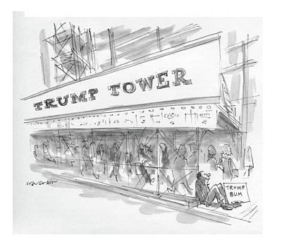 Trumps Drawing - New Yorker May 30th, 1983 by James Stevenson