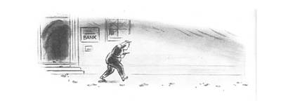 Bank Robber Drawing - New Yorker May 3rd, 1941 by Leonard Dove