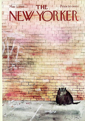 Brick Painting - New Yorker May 3rd, 1969 by Ronald Searle