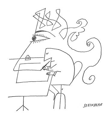 Faces Drawing - New Yorker May 4th, 1963 by Saul Steinberg