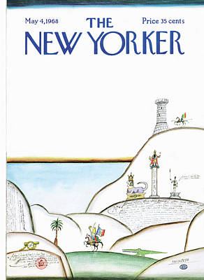 Medieval Painting - New Yorker May 4th, 1968 by Saul Steinberg