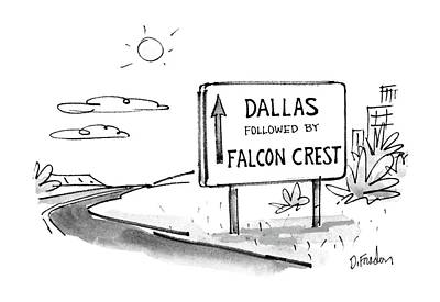 Falcon Drawing - New Yorker May 4th, 1987 by Dana Fradon