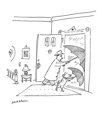 Windy Drawing - New Yorker May 4th, 1992 by Michael Maslin