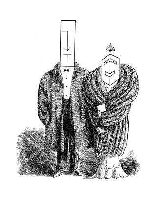Faces Drawing - New Yorker May 5th, 1962 by Saul Steinberg