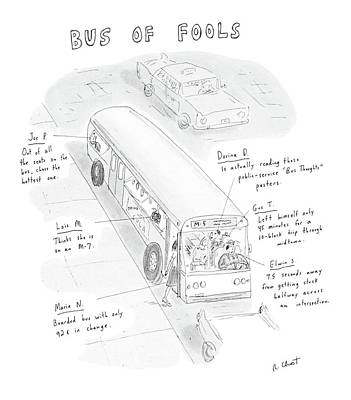 Driving Out Drawing - New Yorker May 5th, 1986 by Roz Chast