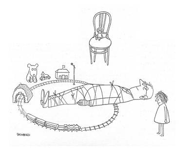 Train Drawing - New Yorker May 6th, 1944 by Saul Steinberg