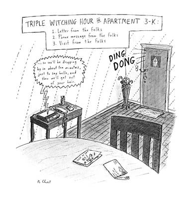 Playing Drawing - New Yorker May 7th, 1990 by Roz Chast
