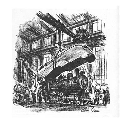 Train Drawing - New Yorker May 8th, 1937 by Alan Dunn