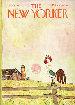 Rooster Painting - New Yorker May 8th, 1965 by William Steig