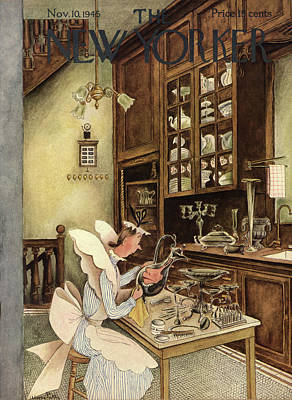 Tea Service Painting - New Yorker November 10th, 1945 by Mary Petty