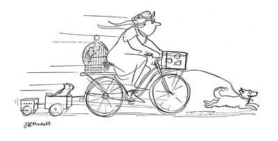 Bicycle Drawing - New Yorker November 10th, 1962 by Frank Modell