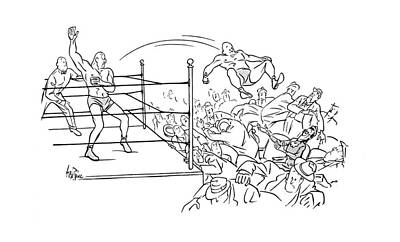 Wrestling Drawing - New Yorker November 11th, 1944 by George Price