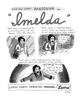 Madonna Drawing - New Yorker November 11th, 1996 by Roz Chast