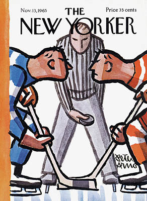 Hockey Painting - New Yorker November 13th, 1965 by Peter Arno