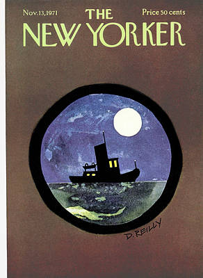 Sea Moon Full Moon Painting - New Yorker November 13th, 1971 by Donald Reilly