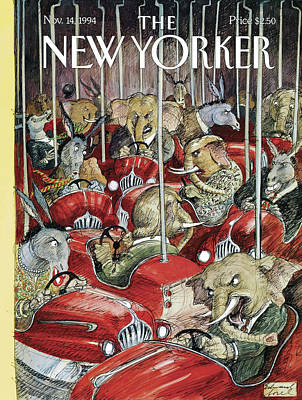Zoo Painting - New Yorker November 14th, 1994 by Edward Sorel