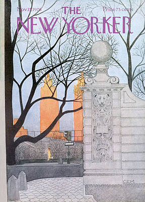 Winter Sunset Painting - New Yorker November 15th, 1976 by Charles E. Martin