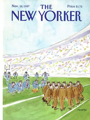 Football Painting - New Yorker November 16th, 1987 by James Stevenson