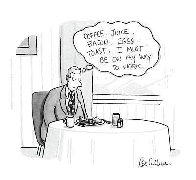 Breakfast Drawing - New Yorker November 16th, 1987 by Leo Cullum