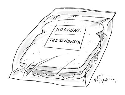 Sandwich Drawing - New Yorker November 16th, 1987 by Mike Twohy