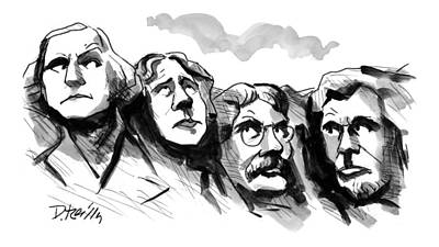 Mount Rushmore Drawing - New Yorker November 16th, 1998 by Donald Reilly