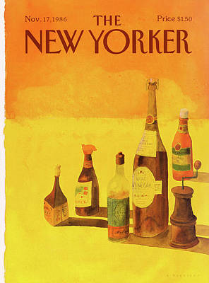 Food Painting - New Yorker November 17th, 1986 by Abel Quezada