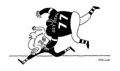 Football Drawing - New Yorker November 18th, 1991 by Charles Barsotti