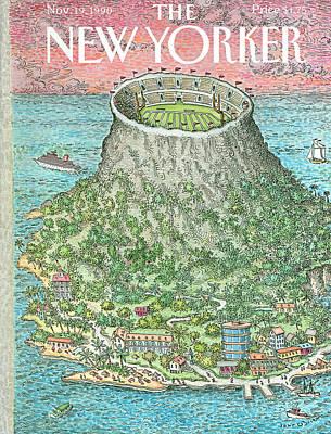 Football Painting - New Yorker November 19th, 1990 by John O'Brien